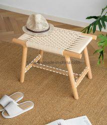 手づくりの Hemp ロープフットスツールシューズベンチ木製ウーブン フットレストスツールオットマンフットスツールリビングルームには、座席が用意されている