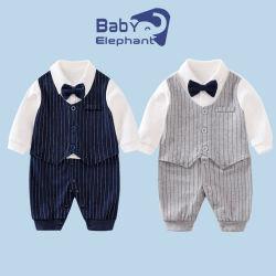熱い販売の方法紳士 100% 綿の幼児の衣類のワイシャツと ウエストコートジャンプスーツボウタイウィンターウェア Newborn Baby Rompers Baby 衣服