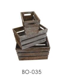 ضع 3 سلة تخزين حرفة خشبية مع مقبض