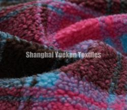قماش Sherpa Fleece ملون جاكار faux Fur Fabric Plaid Sherpa القماش
