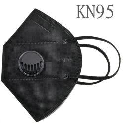 Gripe contra pó descartável máscara facial 5 camadas de cor preta KN95 Máscara