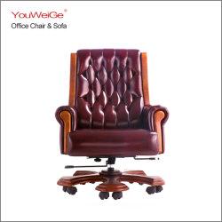 단단한 나무 팔걸이 기초 10 피마자를 가진 대통령을%s Executive Boss 호화스러운 가죽 360 회전대 사무실 의자