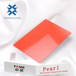 طبقة طلاء PVDF لللؤلؤ PE بالألوان 3 مم/4 مم للطلاء الخارجي/الداخلي لوحة مركبة من الألومنيوم مع طلاء حائط ولوحة مركبة من الألومنيوم