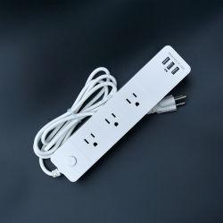 واقي من التمور لوح تمديد مقبس سطح المكتب لسلك الطاقة المثبت على الحائط مع 3 منافذ USB