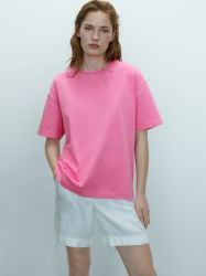 """Voorrand """"X"""" Pure Cotton Roze Raw Neck Edge Casual T-shirts"""