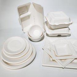 Cuchillería Isposable Logotipo personalizado impreso 500ml 700 ml 800ml 1000ml envases de alimentos en papel biodegradables de bagazo de caña de azúcar en la fiambrera