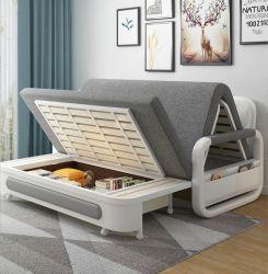 أثاث غرفة المعيشة أريكة حديثة متعددة الأغراض تخزين ذات قماش جراى مطوية سرير أريكة