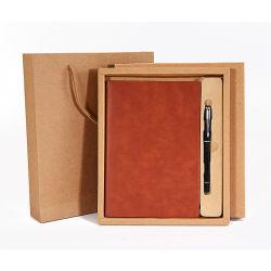 Kundenbezogenheits-elegantes ledernes Deckungszusage-Buch mit Feder für Geschäfts-Geschenk-Set