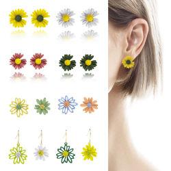 Flor de Margarita Stud Earrings y pendiente de caída de la moda Jewellry