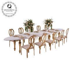 Muebles de acero inoxidable oro boda mesa de comedor con MDF Top