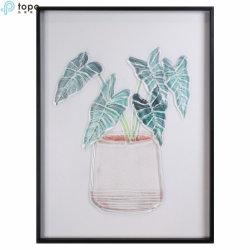 Plantas verdes, la decoración de pared Arte de vidrio pintura para la decoración del hogar (MR-YB6-2052A)