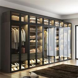 Design simples e moderno personalizados LED de vidro perfis de alumínio molduras equipado quarto Almirah Madeira roupas vestir roupas Barato preço grossista