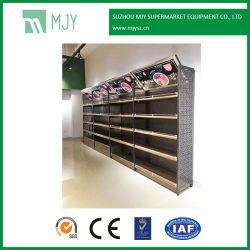 Супермаркет стальные и деревянные MDF структуры стены дисплей полки с индикатором