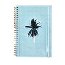 青の植物が植えられた Sea Mood Spiral Notebook と印刷された PVC バッグ ペンシルケース( Pencil Case