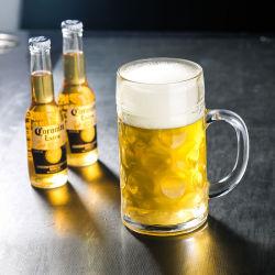 0.5L 1Lハンドルによってカスタマイズされる形およびロゴの透過ビールガラスのビールのジョッキ