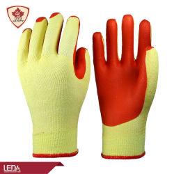 Fodera in cotone giallo Leda da 10 g con gomma rossa goffrata Guanti rivestiti con palmo rinforzati tra il pollice e le dita