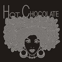 شوكولاتة ساخنة من أصل أفريقي لادي تنقل مكواة على هوت فيكس تصاميم من حجر الراين