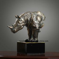 Arte composita della scultura della resina della statua del rinoceronte di Polyresin di rivestimento antico