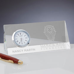 Executive Personalized logo Custom Engraving Office K9 Glass Crystal trifishes simmers Clock Award Craft Business Corporate poison for Desk Accessory Items (#17448)