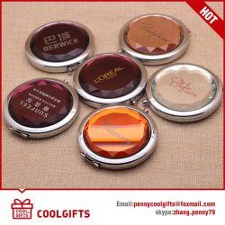 Cristal de venda quente espelho compacto dobrável com o logotipo personalizado