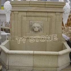 Décoration de jardin de sculpture sur pierre calcaire jaune Fontaine à eau