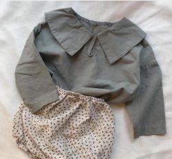 日本の韓国の男の子の女の子の男女兼用のTシャツのジャケットの服装の秋
