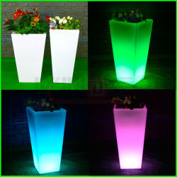 POT di fiore decorativi delle piantatrici quadrate del giardino del LED