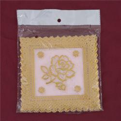maison/café populaires roses d'utilisation de PVC Tablemat/Placemat d'or de lacet de 12.5*12.5cm