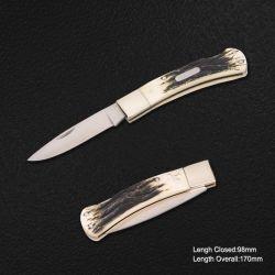 Lama piegante con la maniglia dell'osso del bue, lunghezza Closed: 98mm (#3719-R)