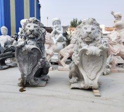 ライオンの彫刻によってカスタマイズされる石造りの彫像のガラス繊維または樹脂または大理石のペア
