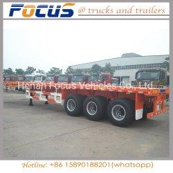 China dat Opschorting van de Lente van de Aanhangwagen van de Vrachtwagen van de Container van 12 Banden de Vlakke vervaardigt