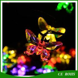 Jardín Decoración Festival Hada mariposas coloridas luces LED de 20 LED/30Cadena Solar LED light para Navidad