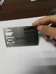 Espejo de logotipo personalizado de corte láser de metal grabado Nombre ID Invitación de acero inoxidable de la tarjeta de crédito Tarjeta de presentación de Metal Blanco