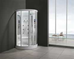 Monalisa luxuoso chuveiro de vapor de acrílico branco Gabinete (M-8225)