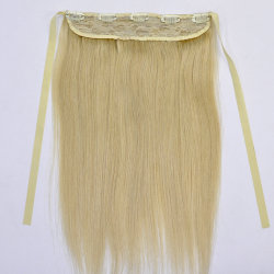 Color blond Lace Frontal Human Remy Hair Straight avec Fastening Strap Clip dans Hair Extensions