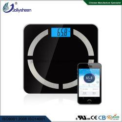 販売のUs&EUの熱い市場のR30高い緩和されたガラスのプラットホームLCDの青いバックライトが付いている電子Bluetoothのスケールの体脂肪のスケールはセリウムのための対応を、RoHS、FCC表示する