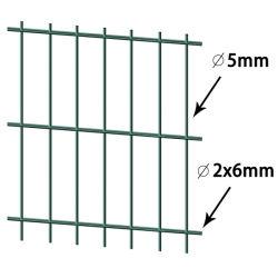Panneau enduit vert de frontière de sécurité de fil de PVC double