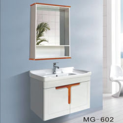 ラッカー自由なべと病の証拠PVC上塗を施してある虚栄心の浴室ミラーのキャビネット