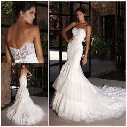 인어 신부 웨딩 드레스 레이스 Tulle 투명한 코르셋 섹시한 결혼 예복 H9036