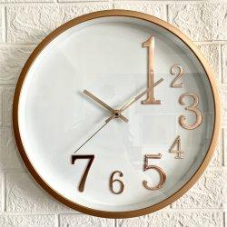 14-дюймовый современные Пластиковые настенные часы золотые живопись