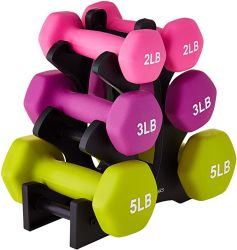 Гантель для фитнеса, 1 кг, 5 кг, розовый, Hex Rubber Неопреновый гантель