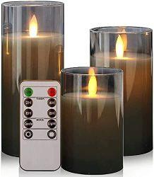 Wick Flameless LED 글라스 튜브 캔들 및 리모컨 이동