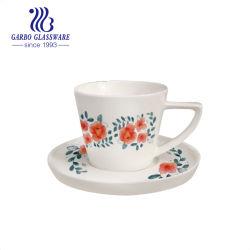 9oz 250ml tasse à café en porcelaine céramique tasse de thé ensemble avec l'autocollant fleur