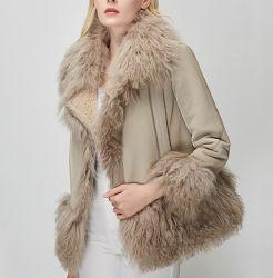 2021 レディースコートウォームフェイクシャーリングシープスキンジャケットウィンターウィメンズ 衣服の贅沢な Outerwear の毛皮の衣服は実質のヒツジの毛皮のトリミングとの衣服を着る