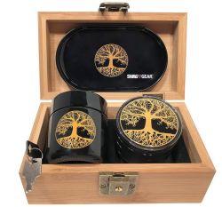 Arbre de vie Stash Case Combo - Pleine taille de boîte de bambou broyeur et le JAR - Bois gravé Stash Box (arbre de vie)