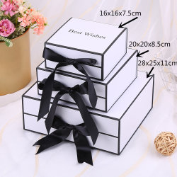 Contenitore di regalo impaccante piegante di nuovo di disegno disegno di lusso bianco su ordinazione del nastro per l'insieme cosmetico del regalo delle decorazioni delle ragazze