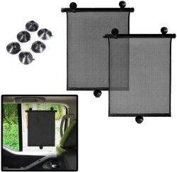 Окно автомобиля Sun тени - Car роликовые шторы складной солнцезащитная шторка - окно автомобиля тени для малыша задние и боковые стекла всеобщей 2 Pack Auto крем от солнца защищает УФ