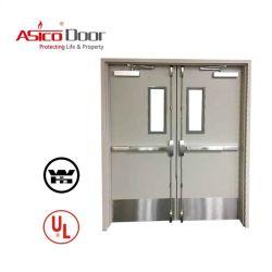 Изолированный вид в разрезе оцинкованной стали/металла Escape пожарных дверей с помощью жалюзи