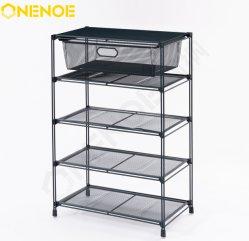 Onenoe Modern Metal Mesh Small Stackable Storage Shelves Kitchen Cart ワイヤー棚靴は棚の棚をのための 5 層と着る リビングルームキッチン