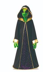 Зеленый черный иностранец косплей платье, Super таинственный иностранец костюм